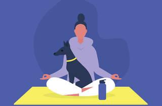 Ilustración de una mujer haciendo yoga con su perro