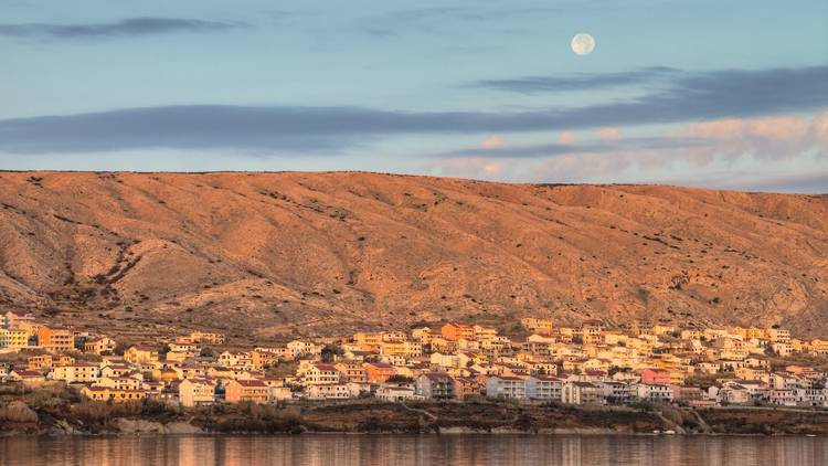 Feel like you're on the moon while you're watching it from Pag island