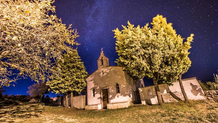 Milky way over a graveyard in Croatia