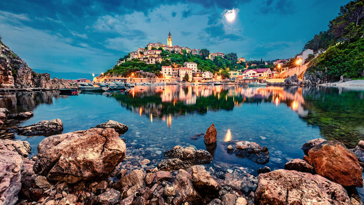 The moon over Vrbnik town in the Kvarner region will take your breath away