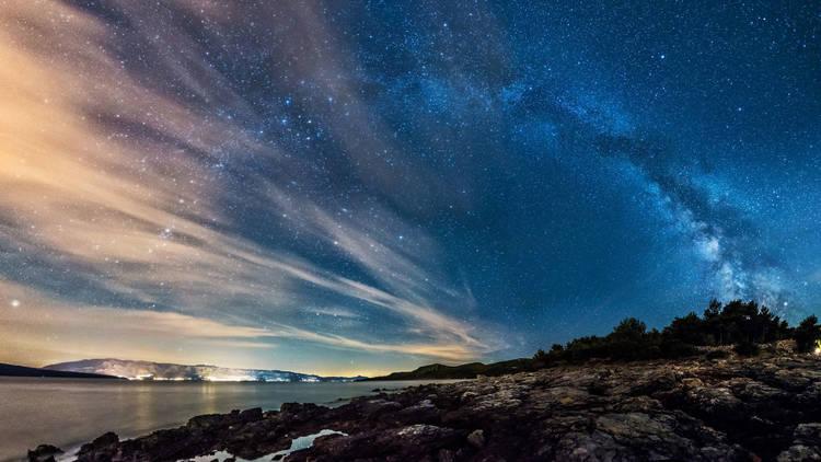 Northern Dalmatian coastlines reflecting the Milky Way