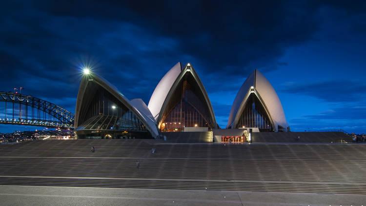 Sydney Opera House deserted at dusk