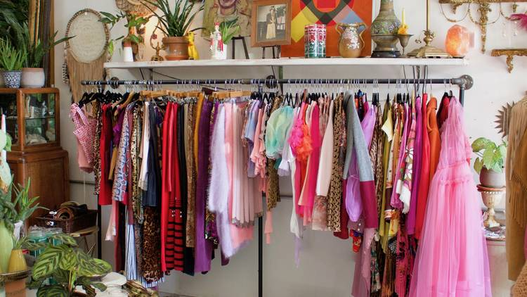 clothing rack in shop