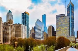 chicago, skyline, chicago skyline, downtown, milennium park, shutterstock