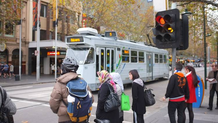 People crowding in Melbourne street