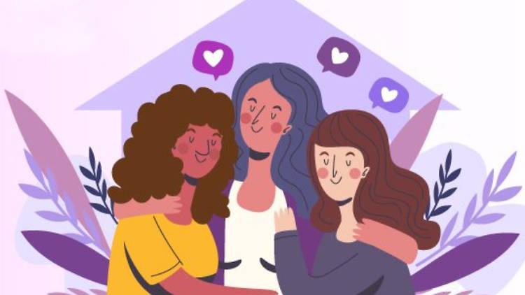 Ilustración de tres mujeres abrazadas.
