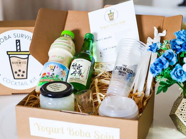 Box with tea, yoghurt and bubble tea ingredients