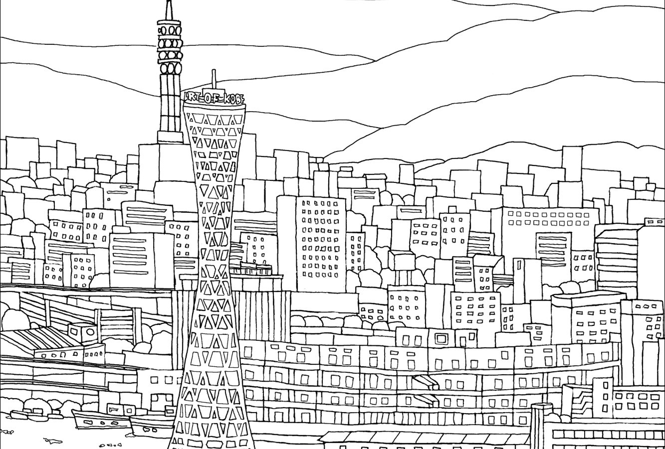 Hanshin Railways offers Osaka and Kobe colouring pages and art tutorials