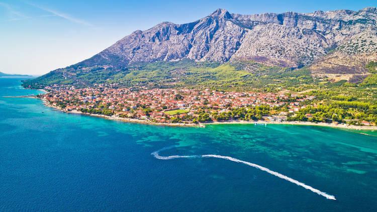 Aerial view of Town of Orebic on Peljesac peninsula waterfront