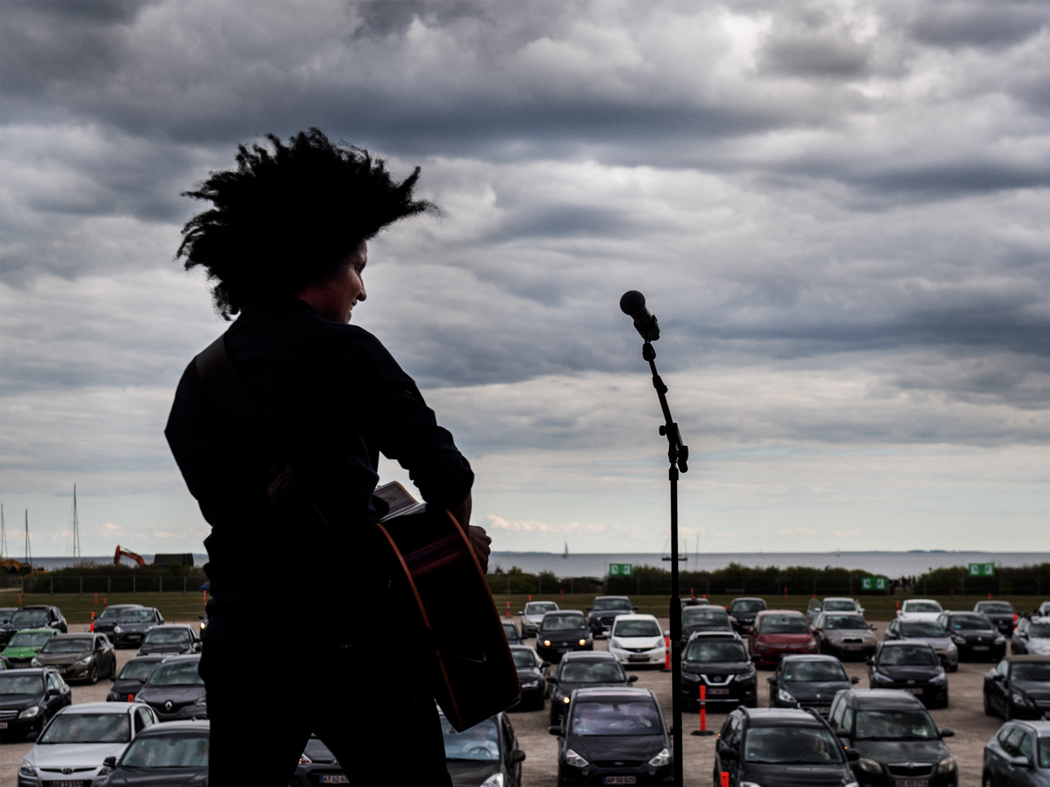 Thomas Buttenschøn performs a drive-in concert in Aarhus, Denmark