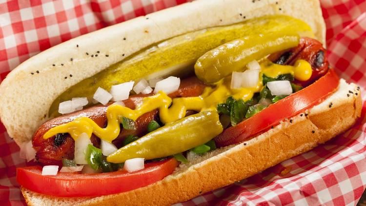 chicago hot dog, hot dog, chicago-style hot dog, chicago dog, shutterstock