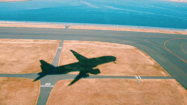 Shadow of a plane on take off