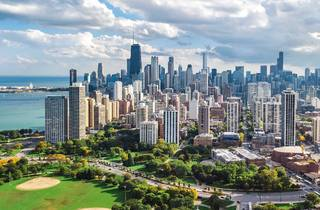 chicago, skyline, chicago skyline, city, downtown, park, drone, shutterstock