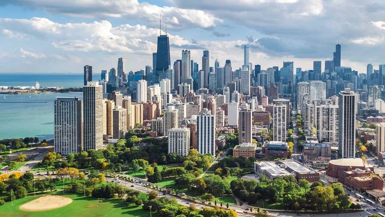 chicago, skyline, chicago skyline, city, downtown, park, drone, shutterstock