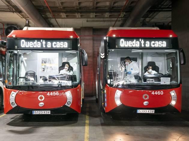 Autobusos a les cotxeres d'Horta
