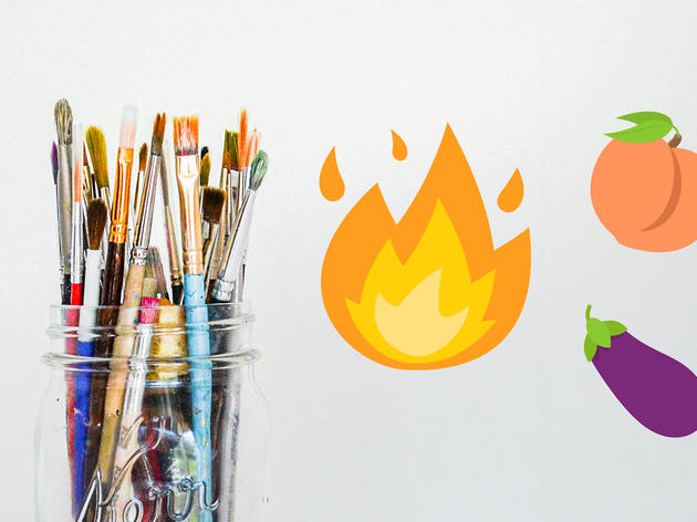 a jar of paintbrushes next to emojis of flames, an eggplant and a peach.