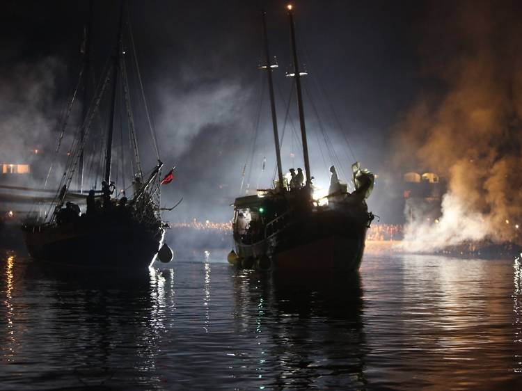 Experience naval battle reenactments