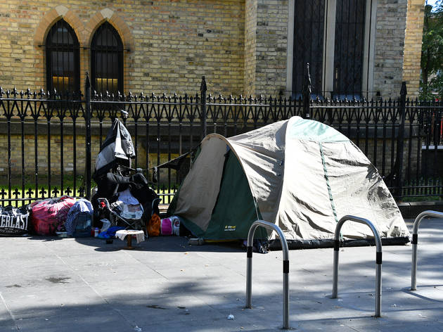 Homeless shelter in street