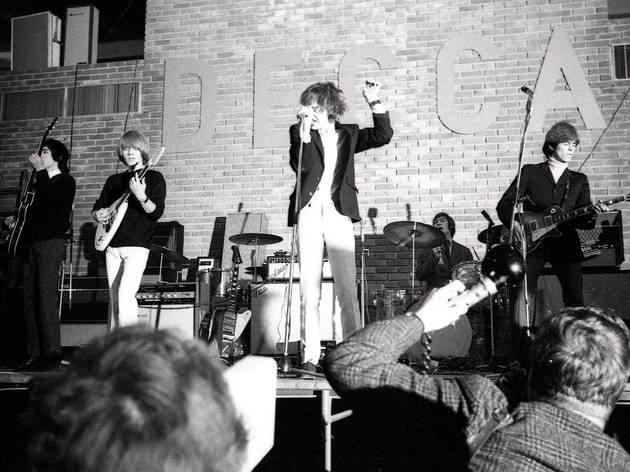 The Rolling Stones  performing live in front of an audience