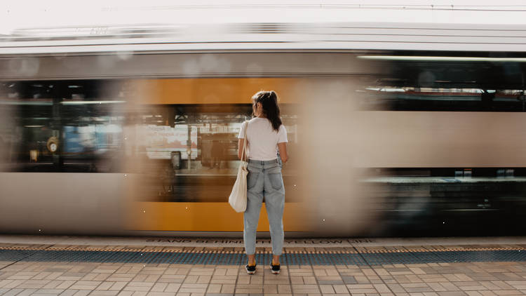 Sydney train in motion