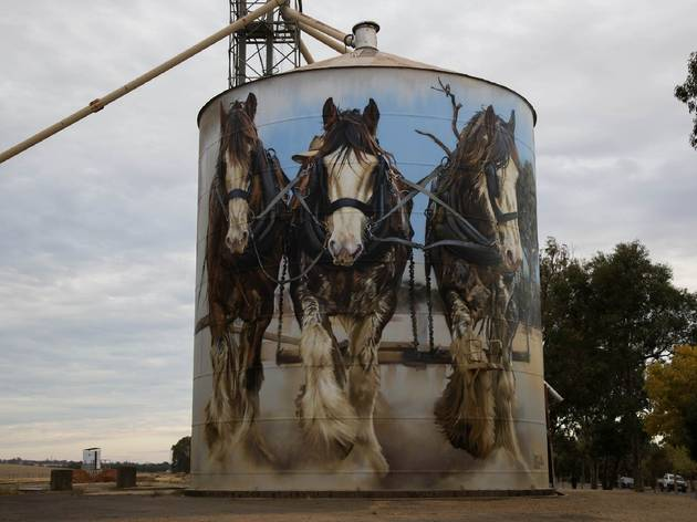 Goorambat Silos painted by Jimmy Dvate