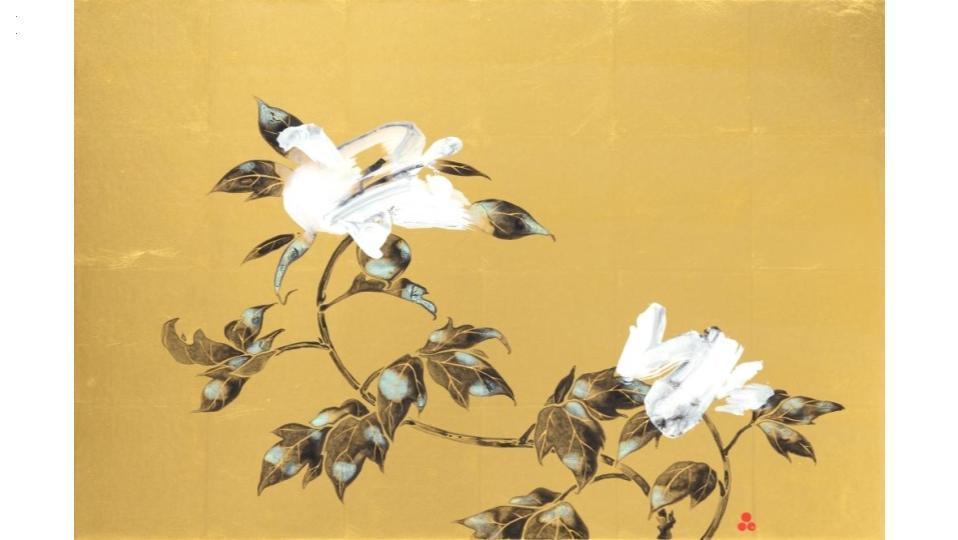 牡丹図 2020 500×750×50(mm) 顔料、墨、金箔、膠、アクリル、和紙、木製パネル