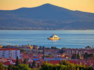 Zadar waterfront and Ugljan island sunset view, yacht, sailing, superyacht, megayacht