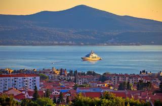 Zadar waterfront and Ugljan island sunset view, yacht, sailing, superyacht, megayacht