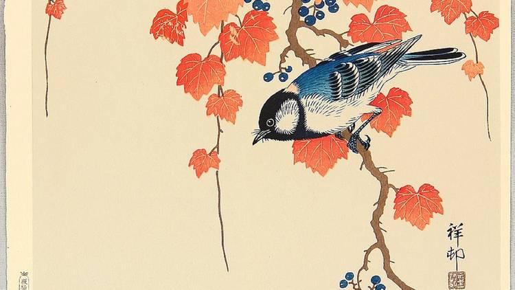 Arte, Xilogravura, Shin-hanga, Ave e Hera Vermelha, Ohara Koson