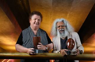 Red Ochre Award recipients Aunty Lola Greeno and Uncle Jack Charles