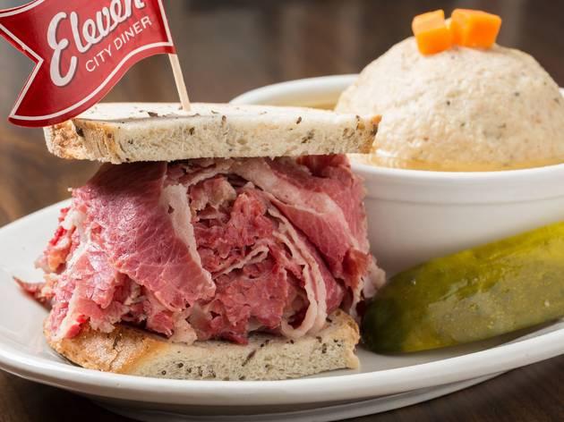eleven city diner, eleven city, corned beef, sandwich, food