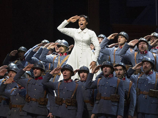 Pretty Yende and soldiers in La Fille du Régiment at the Metropolitan Opera (2019)