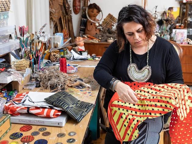 Lisa Waup in her studio, Melbourne 2019