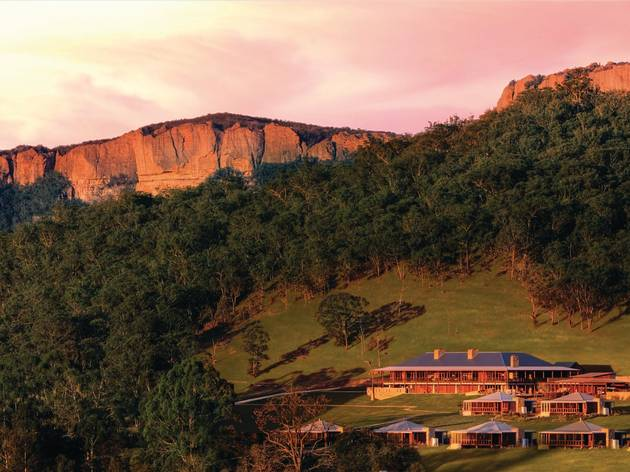Houses in mountain range