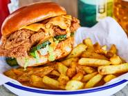 Honest Chicken burger and chips