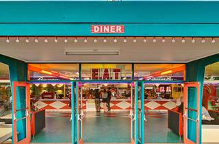 Diner with people inside
