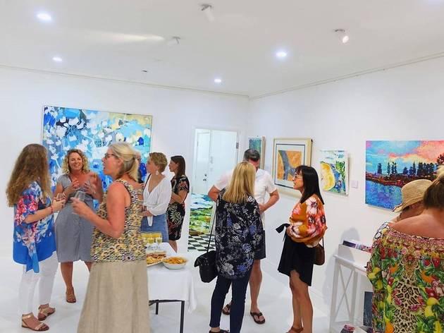 An art gallery opening