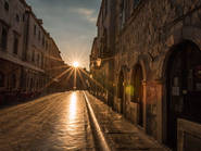 Dubrovnik sunrise sunset, street, morning