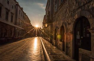 Dubrovnik sunrise sunset, street, morning