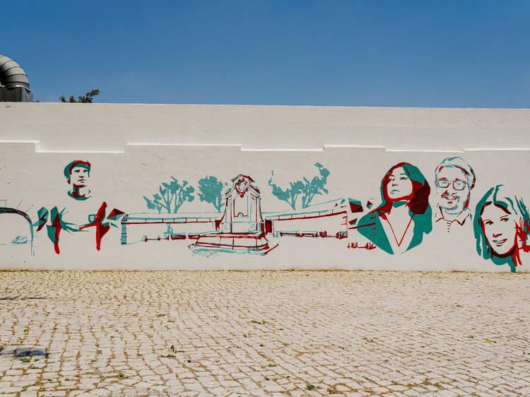 Mural em Benfica de Tomás Reis, Edis One e Pariz One