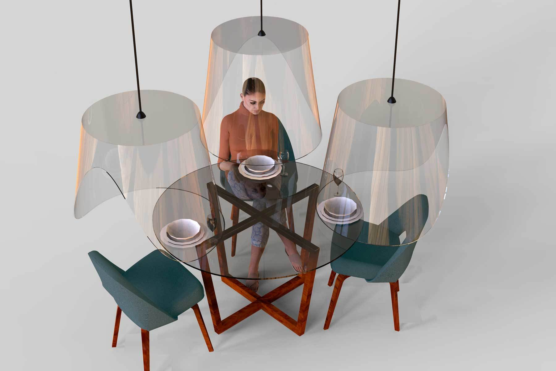 Are these hanging shields the future of eating out?