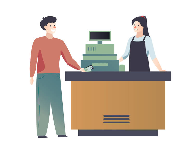 Paying at the counter