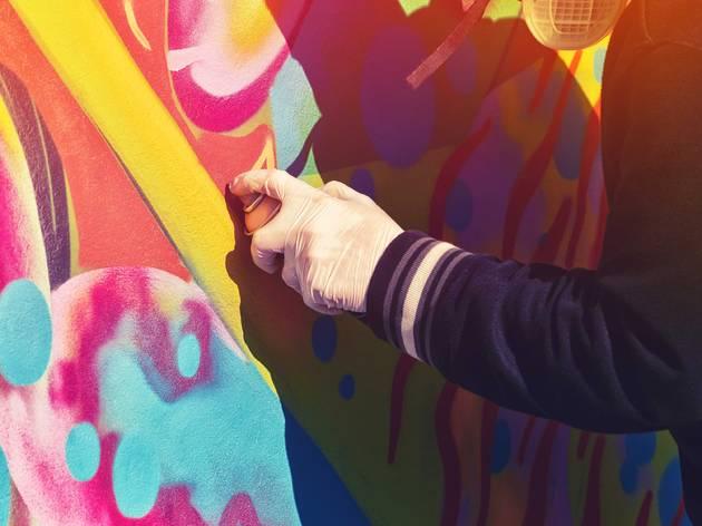 Spray paint street art graffiti