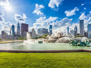 grant park, buckinghman fountain, skyline, chicago, Shutterstock
