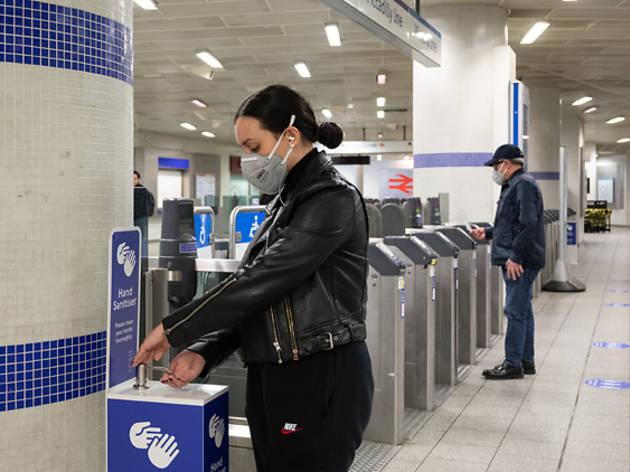 Kings Cross Underground station, hand sanitiser, hand sanitizer