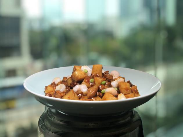 Shanghainese rice cake with chef's special sauce