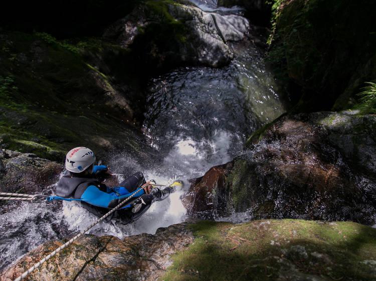 Slide down waterfalls