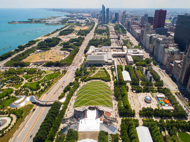millennium park, skyline, grant park, city, downtown, shutterstock, bean