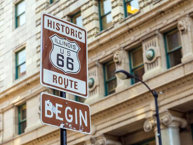 route 66, state street, illinois route 66, downtown, street sign, chicago, shutterstock