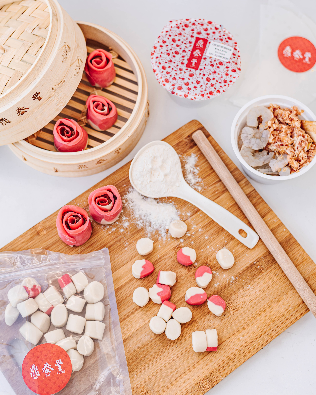 Dough and ingredients to make dumplings